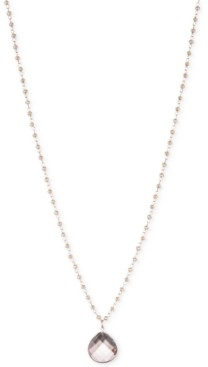 lonna & lilly Rose Gold-Tone Long Crystal Teardrop Beaded Pendant Necklace