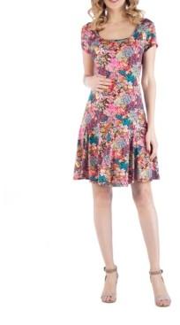 24seven Comfort Apparel Knee Length A Line Floral Print Maternity Dress