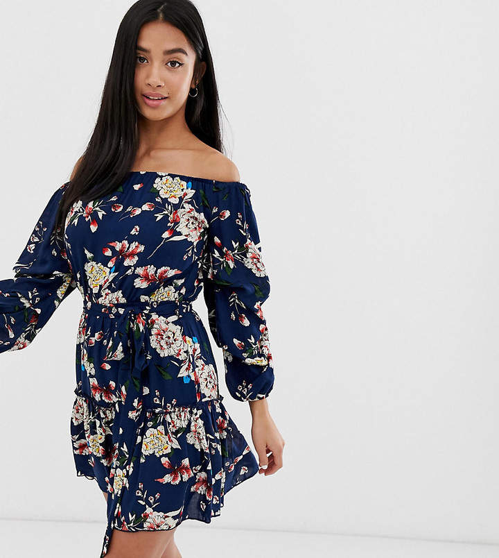 Thumbnail for your product : Parisian off shoulder skater dress in navy floral