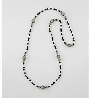 Erica Lyons® Black/Silvertone Long and Lean Necklace