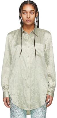 Acne Studios Green Floral-Embossed Satin Shirt