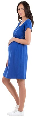 Angel Maternity Maternity Nursing Dress (Blue) Women's Clothing