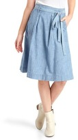 Gap Chambray denim high-rise midi skirt