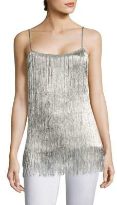 Rachel Zoe Wick Metallic Fringed Tank Top