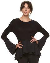 Elle Women's ELLETM Mixed-Media Peplum Top