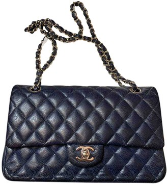 Chanel Timeless/Classique Blue Leather Handbags