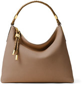 Michael Kors Skorpios Woven-Trim Hobo Bag, Vanilla