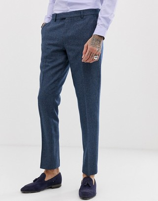 Harry Brown wedding wool blend slim fit summer tweed suit trousers-Blue