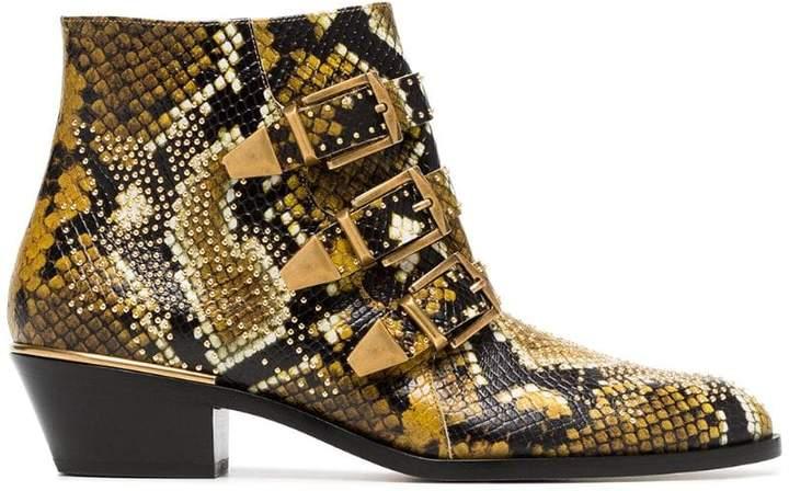 Chloé yellow and black Susanna 30 python print leather boots
