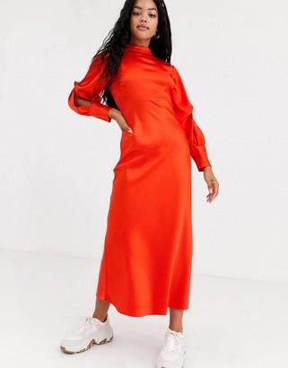 ASOS DESIGN high neck satin bias maxi dress with knot sleeve detail