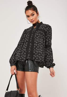 Missguided Black Lace Trim Balloon Sleeve Floral Top
