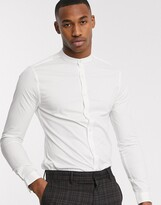 New Look long sleeve poplin grandad collar shirt in white