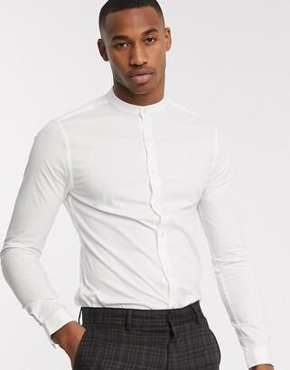 New Look long sleeve poplin grandad collar shirt in white