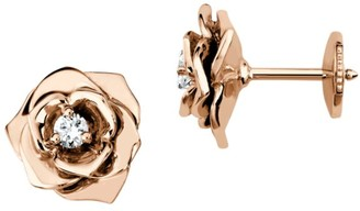 Piaget Rose 18K Rose Gold & Diamond Stud Earrings