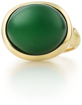 Tiffany & Co. Elsa Peretti Cabochon ring in 18k gold with green jade, 15 mm wide