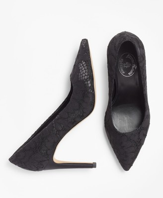 Brooks Brothers Floral Lace Point-Toe Pumps