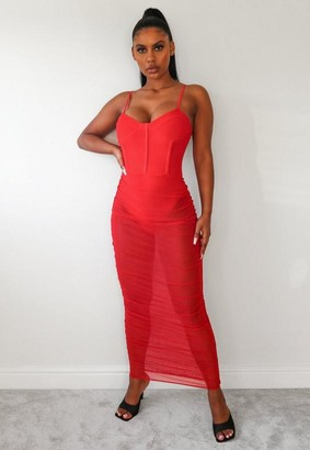 Missguided Red Mesh Corset Ruched Midaxi Dress