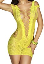 IWISHME Women Crocheted Hollow Out Bodycon Lingerie Fishnet Mini Chemise Dress