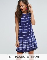 Glamorous Tall Sleeveless Tie Dye Shift Dress With Pom Pom Detail