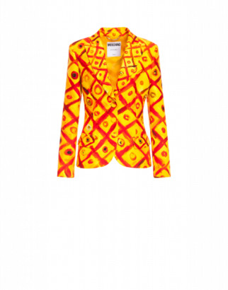 Moschino Viscose Cady Jacket Red And Yellow Squares