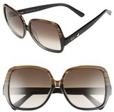 MCM Women's 58Mm Oversize Square Sunglasses - Striped Brown/ Cyclamen