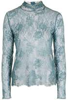 Topshop Lace highneck long sleeve top