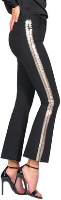 Black Orchid Chrissy Kick Flare Jeans w/ Brushed Foil Stripes