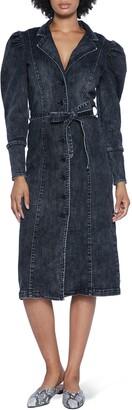 WASH LAB Crossover Denim Long Sleeve Midi Dress