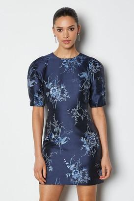 Karen Millen Jacquard Puff Sleeve Short Dress