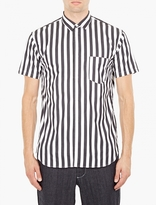 Comme Des Garcons Shirt Striped Panelled Cotton Shirt