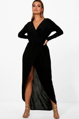 boohoo Plus Slinky Wrap Maxi Dress
