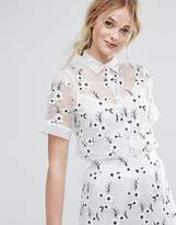 Traffic People Embroidered Shirt With Cami Underlay