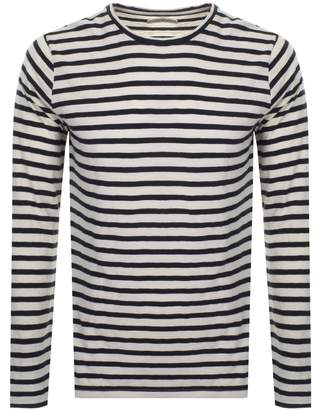Nudie Jeans Orvar Striped T Shirt White