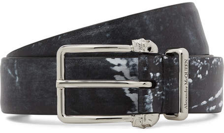 Alexander McQueen 3cm Black Printed Matte-Leather Belt - Men - Black