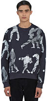 J.w. Anderson Men's Judo Print Crew Neck Sweater In Navy
