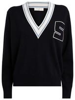 Sandro Paris Contrast-Trim Initial Sweater