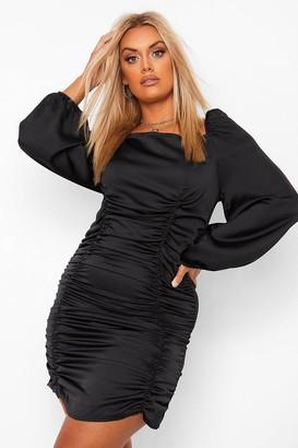 boohoo Plus Satin Ruched Blouson Sleeve Dress
