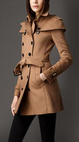 Burberry Wool Cashmere Caped Trench Coat