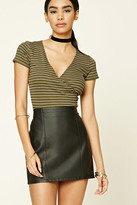 Forever 21 FOREVER 21+ Striped Surplice Front Top