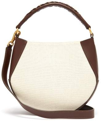Wandler Corsa Mini Leather And Canvas Tote - Womens - Brown White