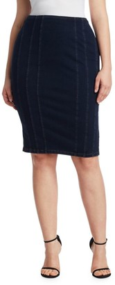 Ashley Graham X Marina Rinaldi Canada Jersey Denim Pencil Skirt