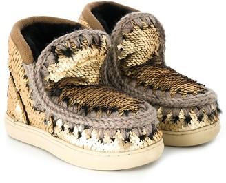 Mou Kids Sequin Embellished Eskimo Boots