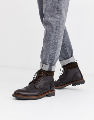 Dune leather hiker boot in brown
