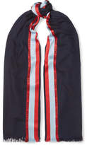 Loewe Striped Wool, Silk And Cashmere-blend Scarf - Navy