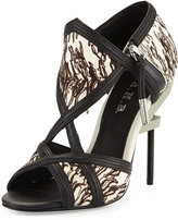 L.A.M.B. Excite Printed Calf-Hair Sandal, Gray/Black