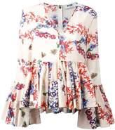 MSGM floral print ruffled blouse