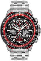 Citizen Jy0110-55e Red Arrows Eco-drive Skyhawk At Chronograph Bracelet Strap Watch, Silver/black