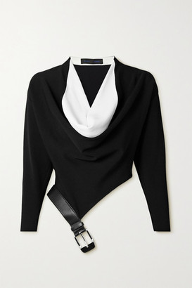 Proenza Schouler Draped Two-tone Leather-trimmed Stretch-knit Blouse - Black