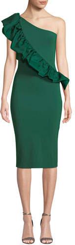 Chiara Boni Marine Organza 1-Shoulder Ruffle Dress