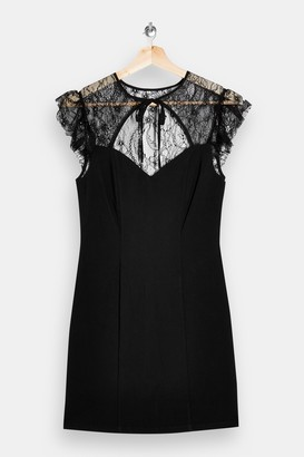 Topshop PETITE Black Lace Stretch Tie Mini Dress